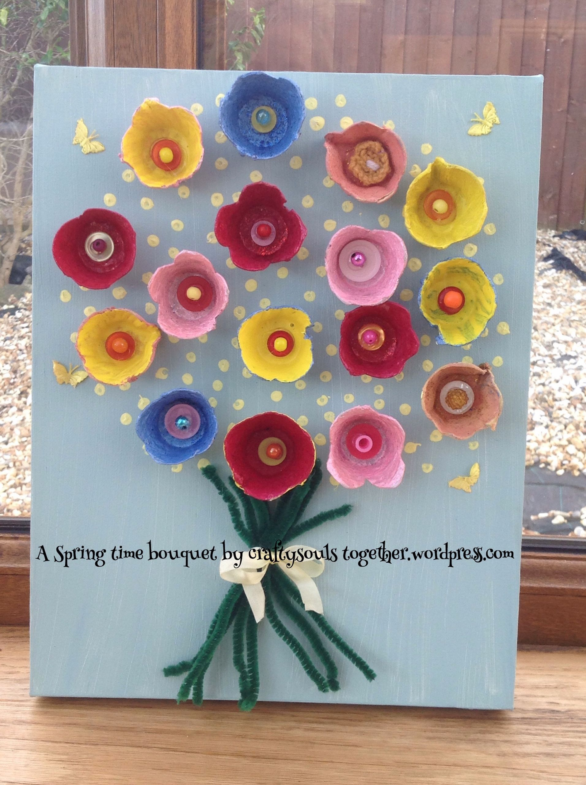 Craft Activities For Adults  Spring flower bouquet picture a recycling tutorial