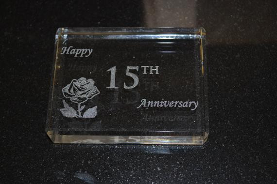 Crystal Anniversary Gift Ideas  15 year Anniversary Crystal Paperweight Gift with Happy 15th
