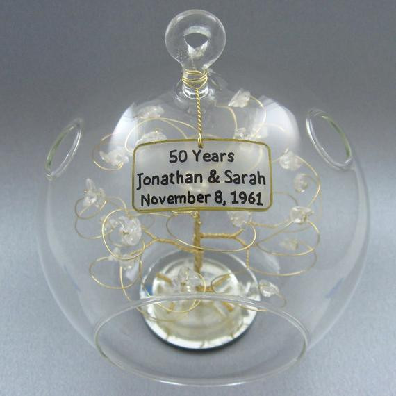 Crystal Anniversary Gift Ideas  50th Anniversary Gift Personalized Ornament Gold with by