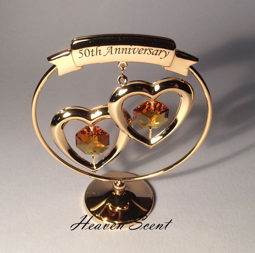 Crystal Anniversary Gift Ideas  50th Golden Wedding Anniversary Gift Ideas Gold Plated