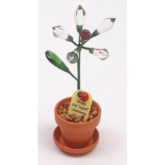 Crystal Anniversary Gift Ideas  15th Anniversary t crystal desk rose