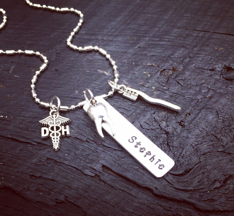 Dental School Graduation Gift Ideas For Her  Dental Hygienist Necklace DH Necklace