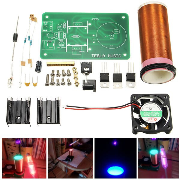 Dikavs DIY Mini Music Tesla Coil Kit  DIY Mini Music Tesla s Coil Kit Field Loudspeaker Low