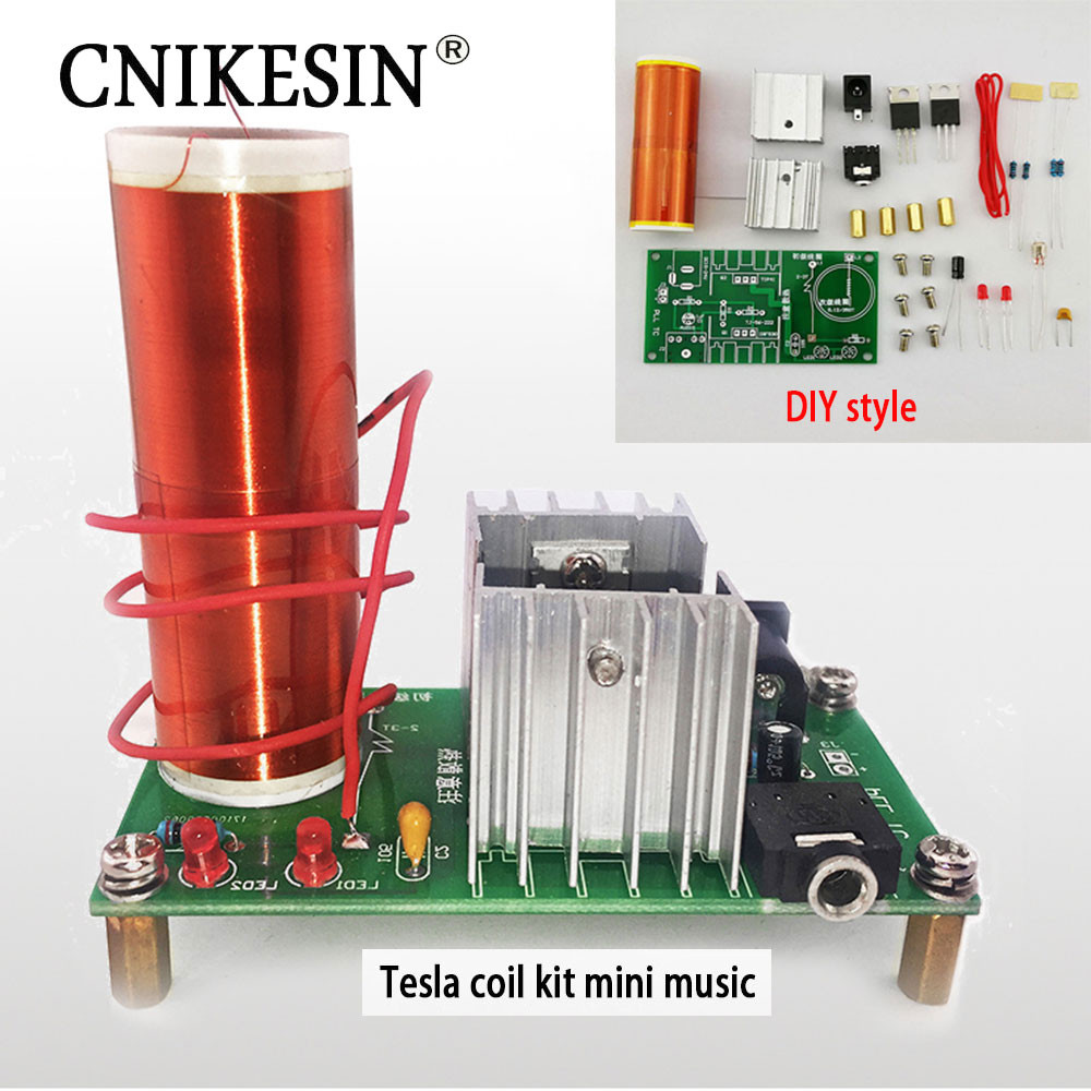 Dikavs DIY Mini Music Tesla Coil Kit  CNIKESIN DIY Kits 1 Set Mini Tesla Coil Kit 15W Mini Music