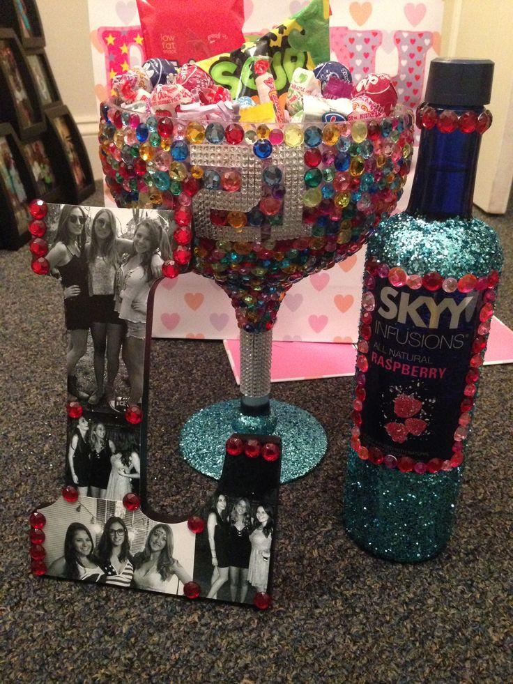 DIY 21St Birthday Gifts  DIY glitter and rhinestone 21st birthday t