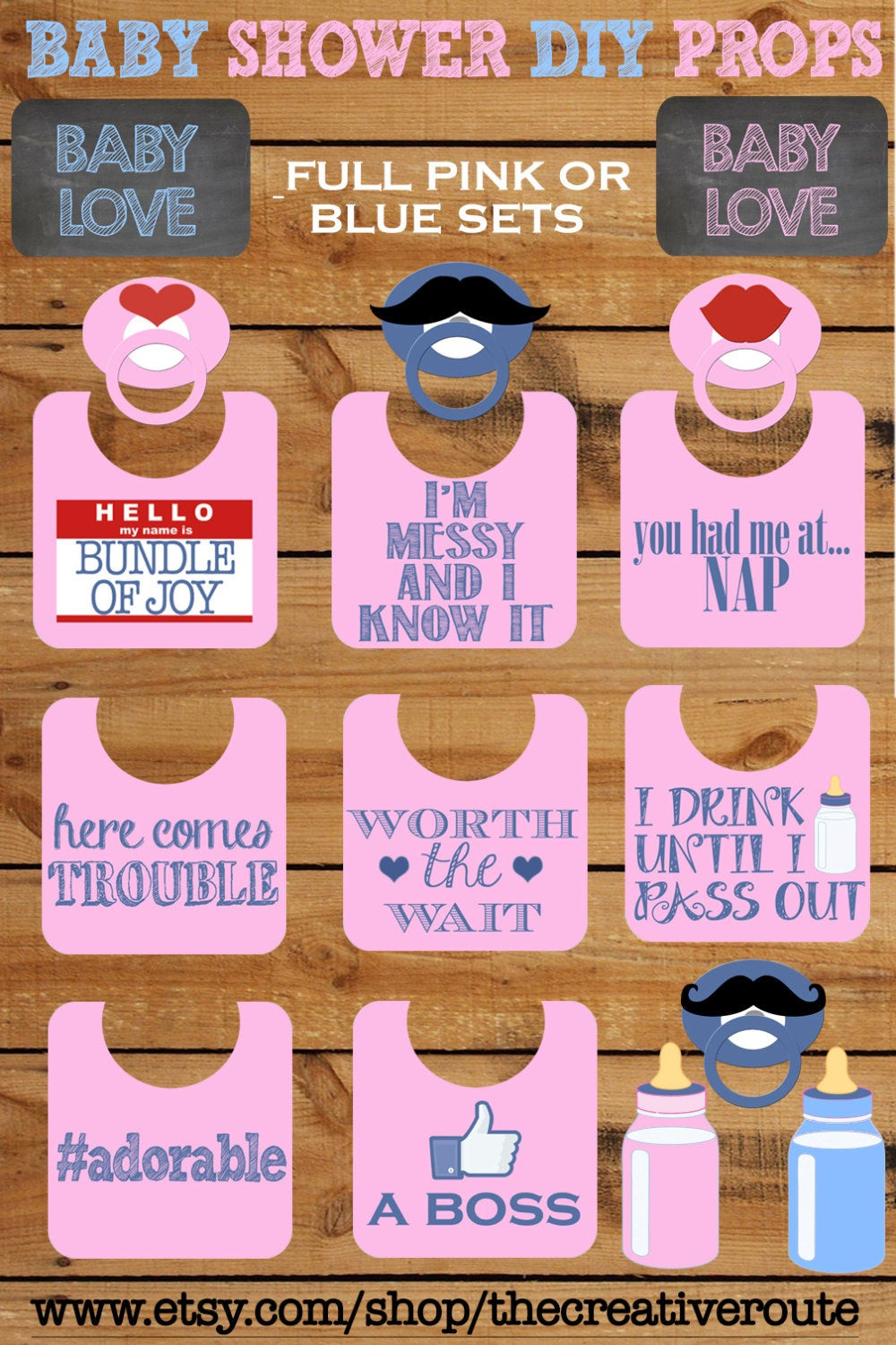 Diy Baby Photo Props  Baby Shower Booth Props Printable 11 page PDF DIY