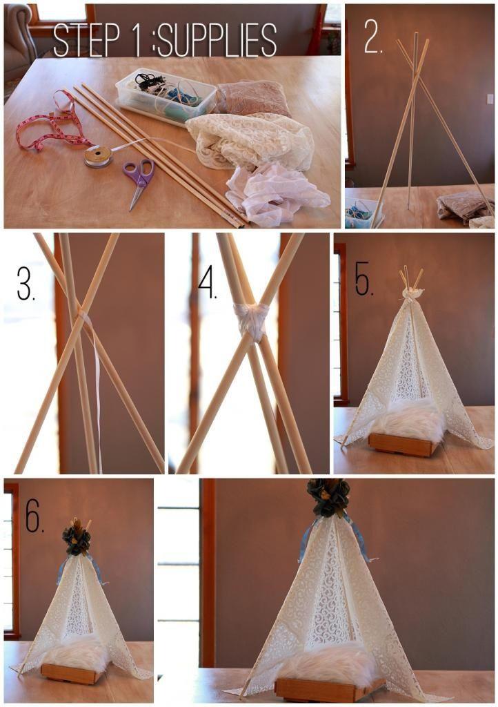 Diy Baby Photo Props  DIY Newborn Tent Prop Bamboo sticks would work too