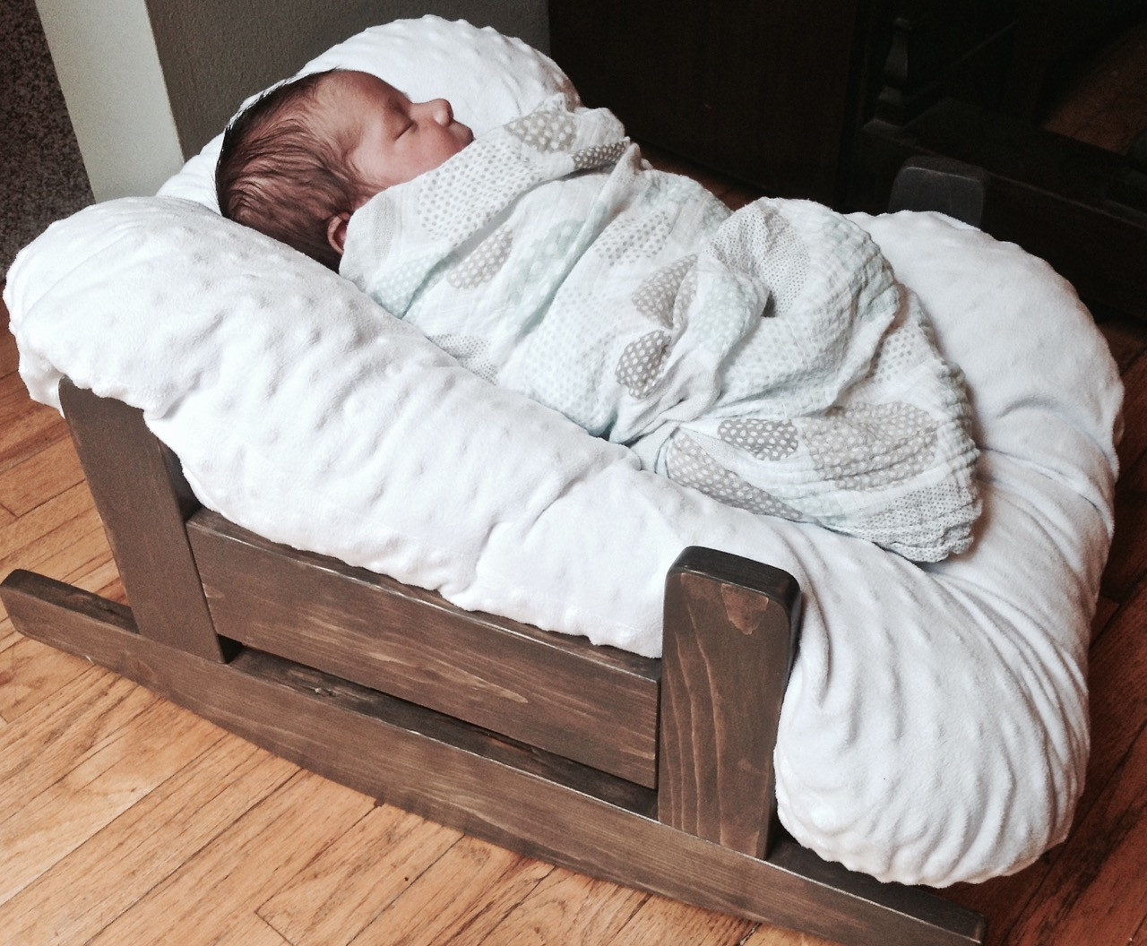 DIY Baby Pillows  The Project Lady DIY Wooden Baby Pillow Rocker Bassinet