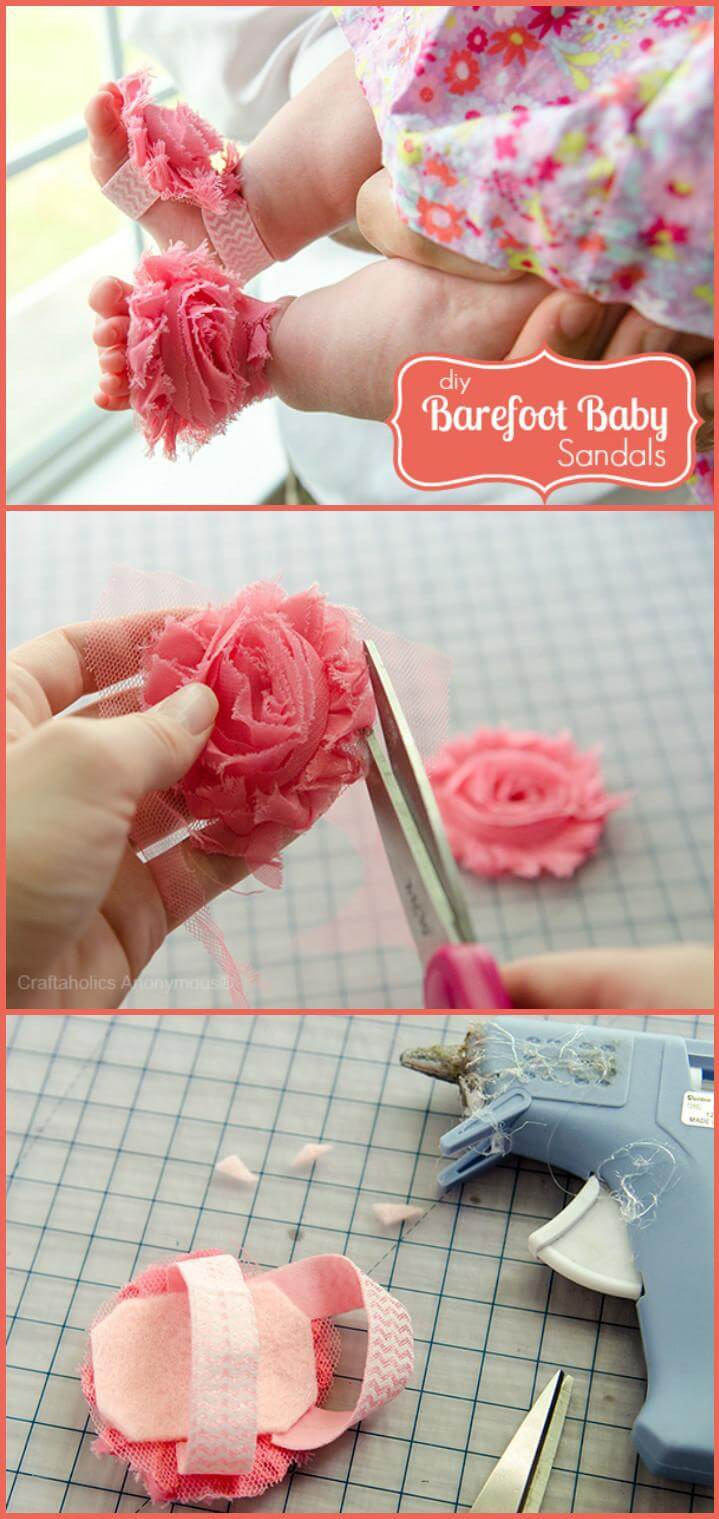 DIY Barefoot Sandals Baby  55 DIY Baby Shoes with Free Patterns and Tutorials DIY
