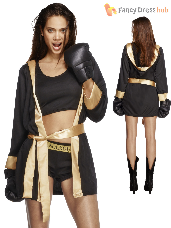 DIY Boxer Costume  La s Fever Knockout Boxing Fancy Dress Costume Womens