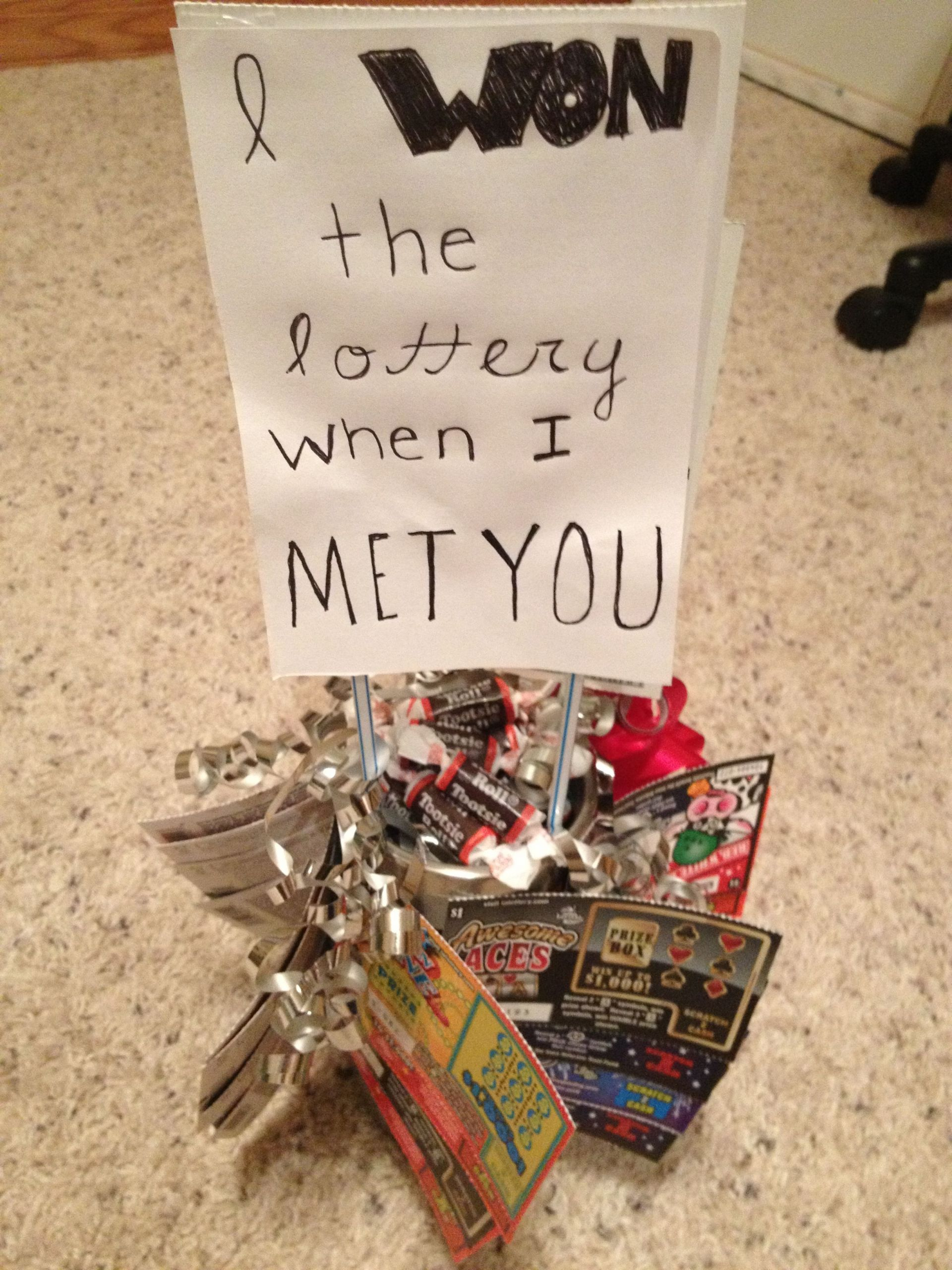 """DIY Boyfriend Birthday Gifts  Homemade t with can s and lottery tickets """"I won the"""