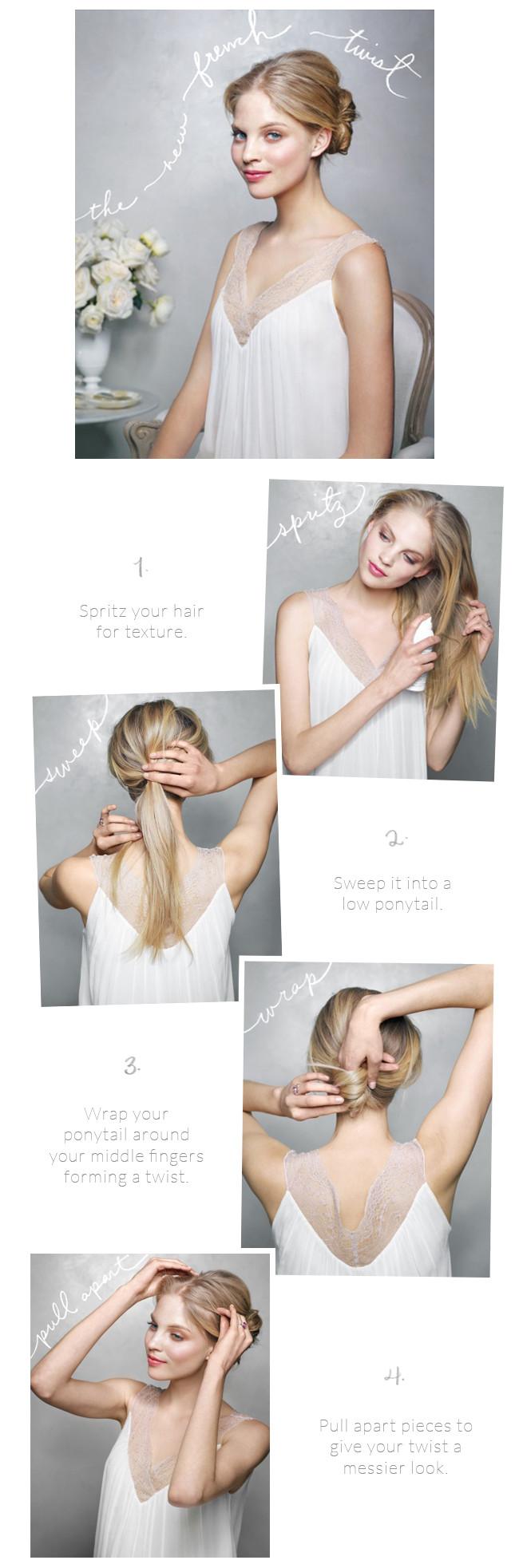 DIY Bridal Hair  The New French Twist Wedding Hairstyles Tutorial ce Wed