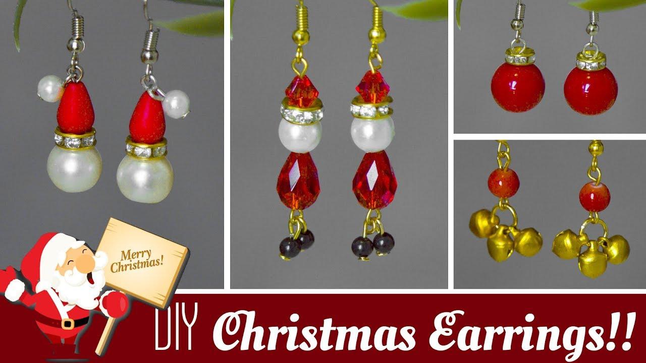 DIY Christmas Jewelry  4 DIY Christmas earrings in minute 2019