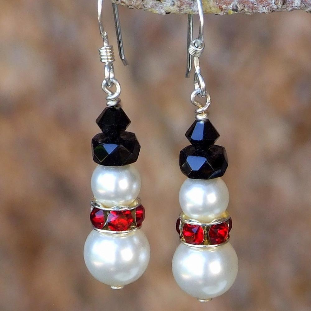 DIY Christmas Jewelry  Snowman Christmas Earrings Swarovski Pearls Crystals