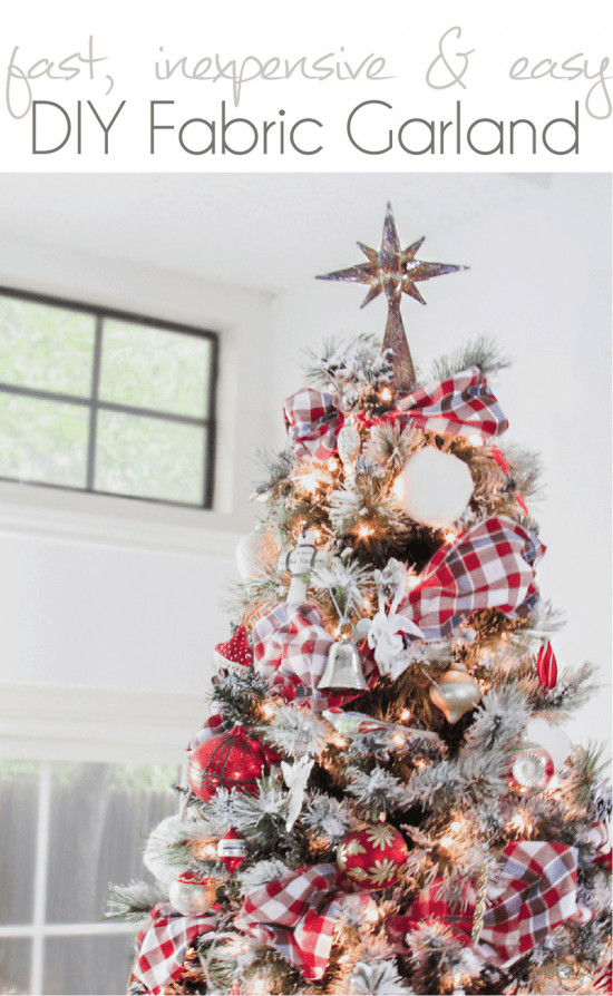 DIY Christmas Tree Garland  Fast Inexpensive and Easy DIY Fabric Garland Pocketful