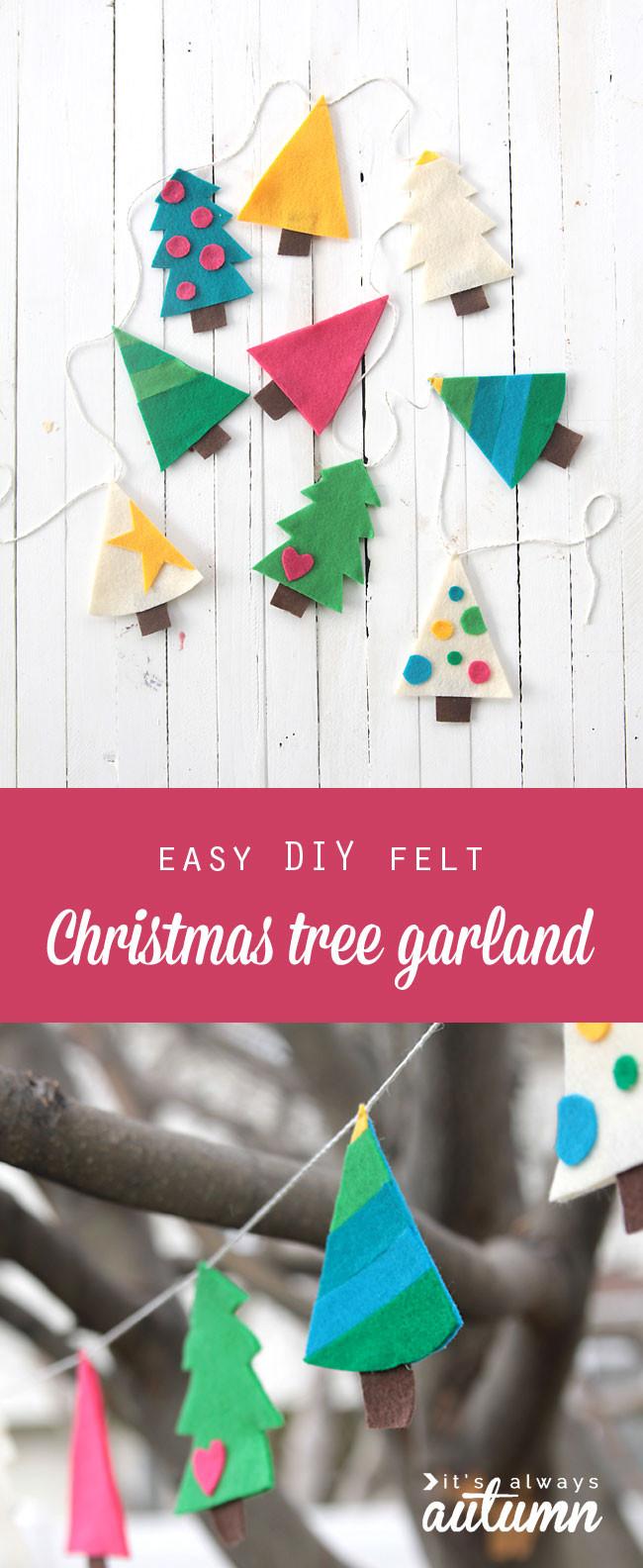 DIY Christmas Tree Garland  easy DIY felt Christmas tree garland simple holiday decor