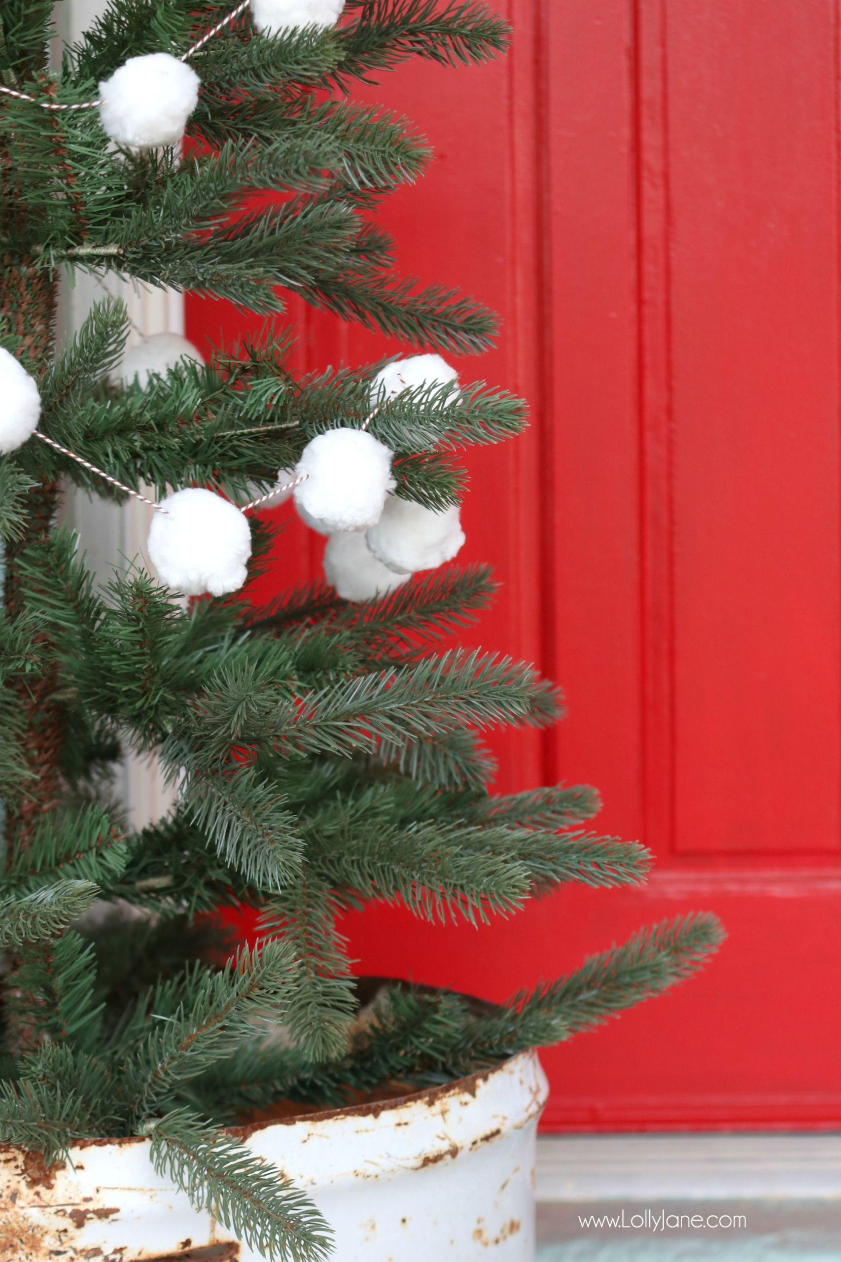 DIY Christmas Tree Garland  White Pom Pom Christmas Tree Garland Tutorial