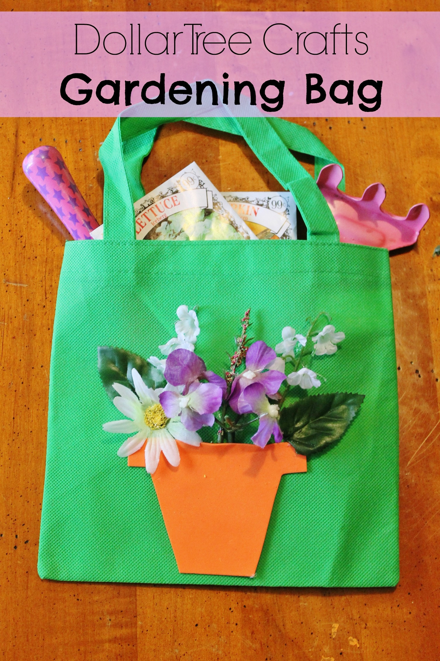 DIY Craft For Toddlers  DIY Gardening Tote Bag Dollar Store Spring Craft for Kids