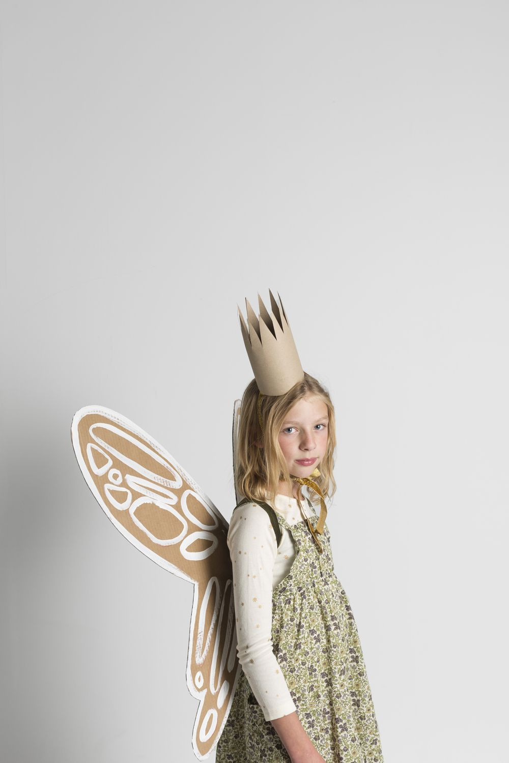 DIY Fairy Costumes For Kids  Garden Fairy with DIY cardboard wings and crown