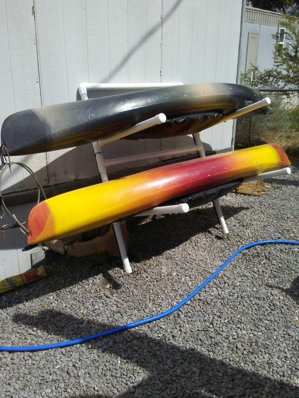DIY Kayak Rack Pvc  My new pvc kayak storage rack