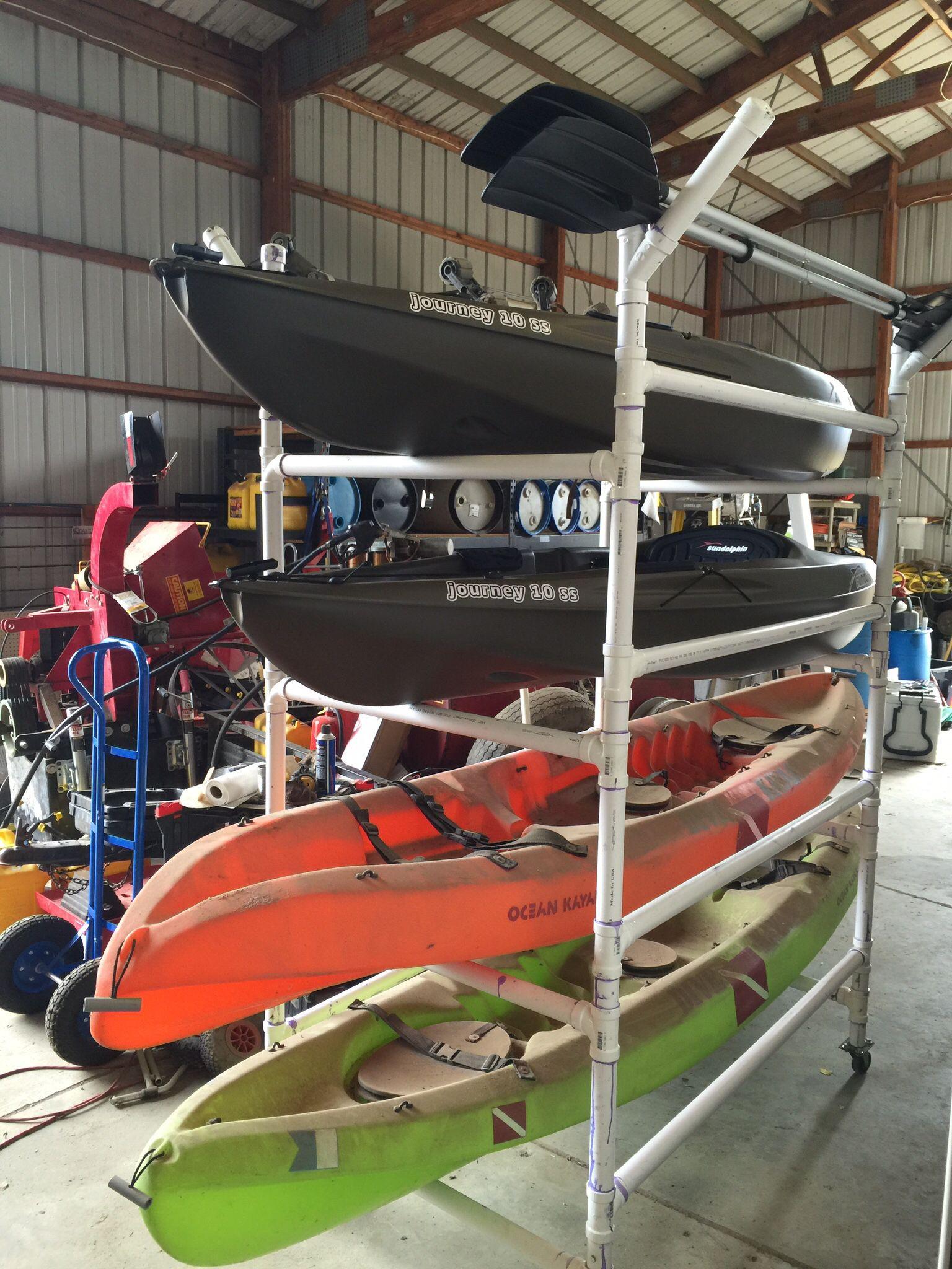 "DIY Kayak Rack Pvc  Homemade PVC kayak rack made from 1 5"" schedule 40 PVC"