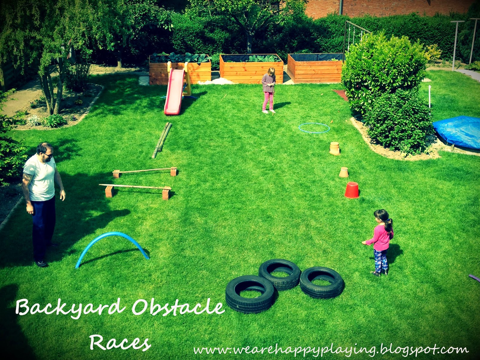 DIY Obstacle Course For Kids  We are Happy Playing DIY Backyard obstacle races without