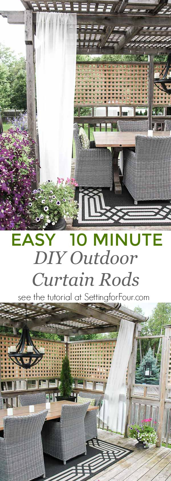 DIY Outdoor Curtain Rod  Easy DIY Outdoor Curtain Rods In 10 Minutes Setting for Four