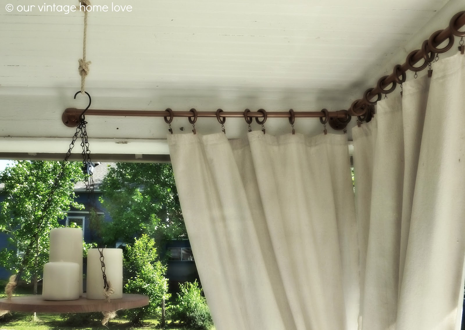 DIY Outdoor Curtain Rod  vintage home love Back Side Porch Ideas For Summer and An