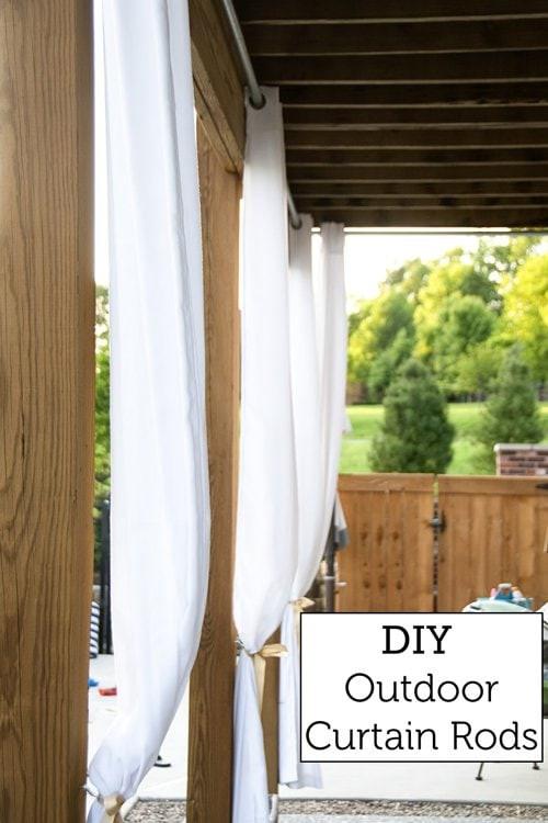 DIY Outdoor Curtain Rod  How to Hang Outdoor Curtains & DIY Outdoor Curtain Rods