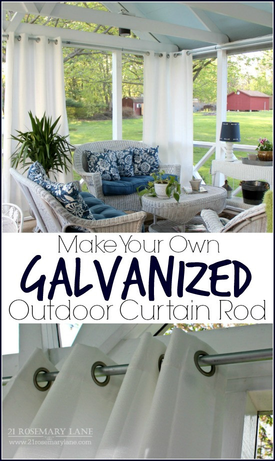 DIY Outdoor Curtain Rod  21 Rosemary Lane Easy DIY Galvanized Outdoor Curtain Rod