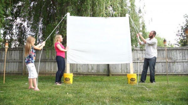 DIY Outdoor Movie Screen Material  9 Simple DIY Projector Screen Ideas That Your Family Will