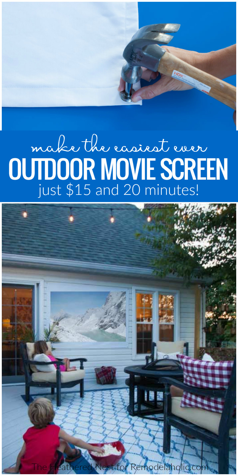 DIY Outdoor Movie Screen Material  Remodelaholic