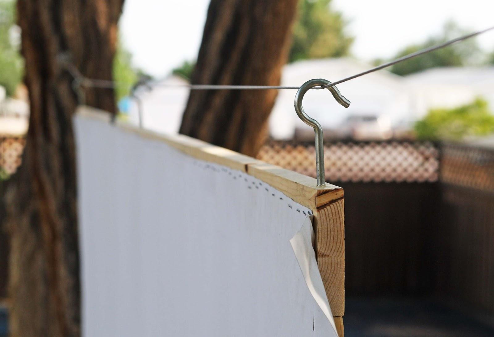 DIY Outdoor Movie Screen Material  DIY Outdoor Movie Screen Running With Scissors