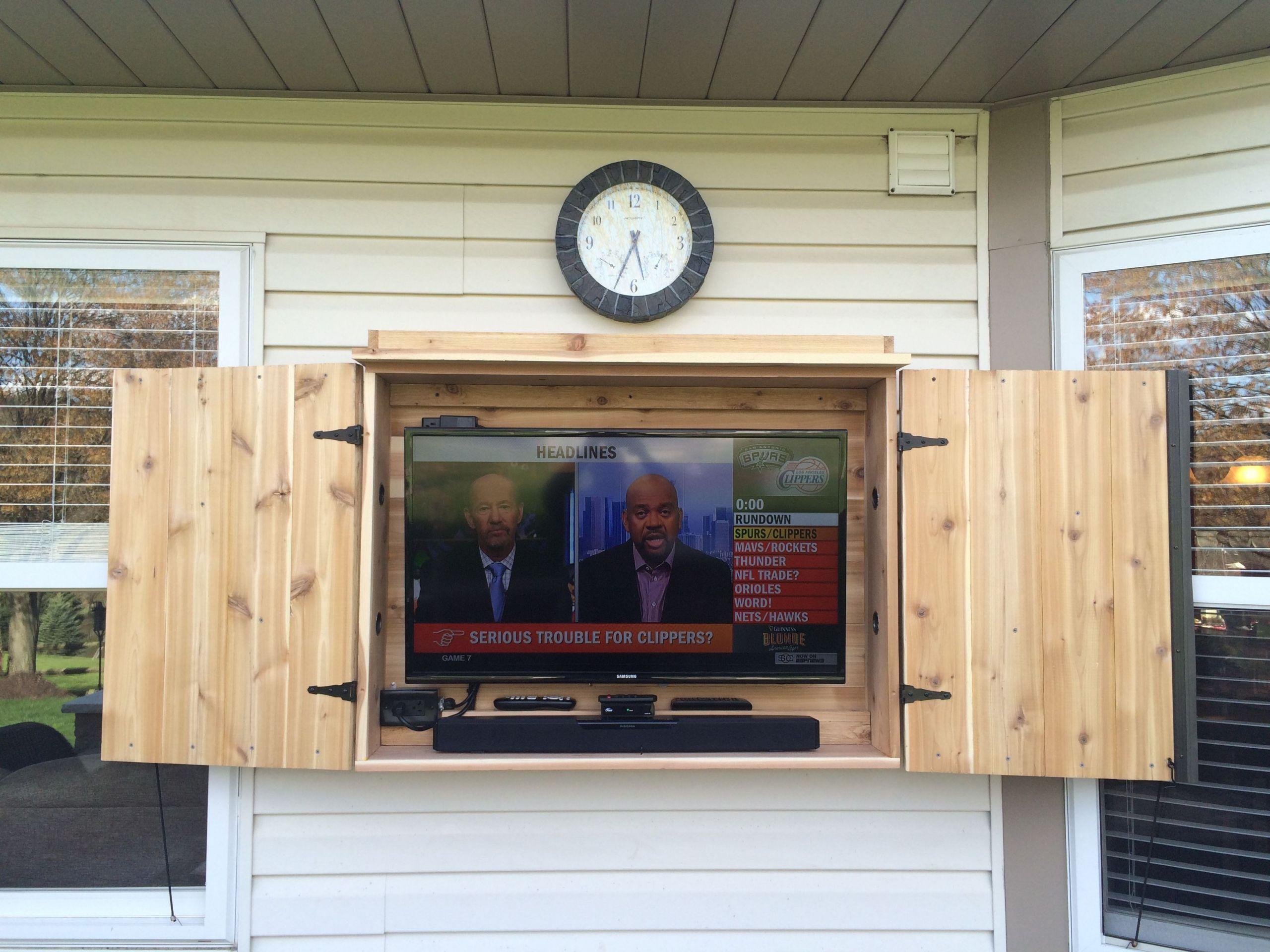 DIY Outdoor Tv Cabinet  Outdoor TV cabinet made of cedar …