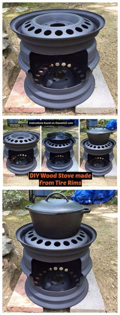 DIY Outdoor Wood Furnace  DIY Outdoor Wood Stove made from Tire Rims