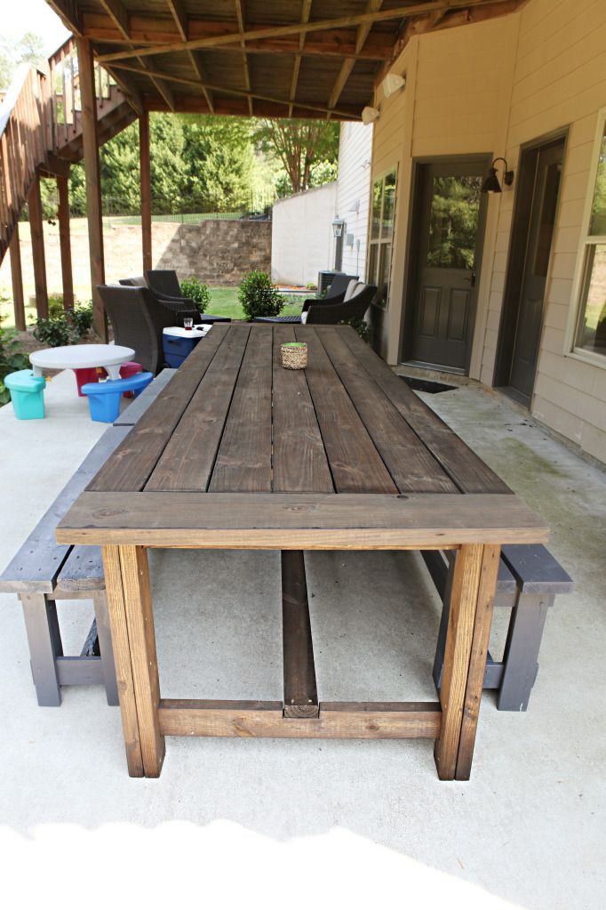 DIY Outdoor Wooden Table  Diy Patio Table Ideas WoodWorking Projects & Plans