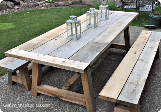 DIY Outdoor Wooden Table  Reclaimed Wood Outdoor Dining Table and Benches