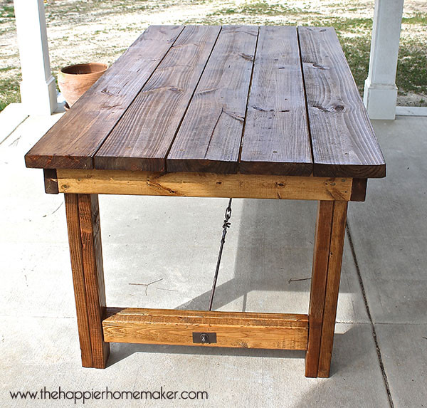 DIY Outdoor Wooden Table  11 Pottery Barn Inspired DIY Projects
