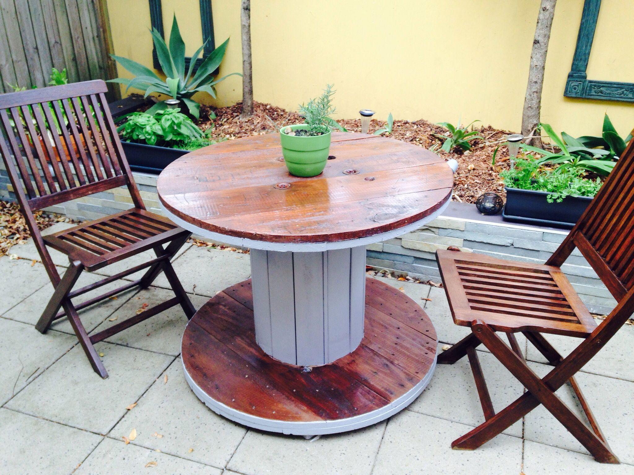 DIY Outdoor Wooden Table  Cable Reel Outdoor Table DIY
