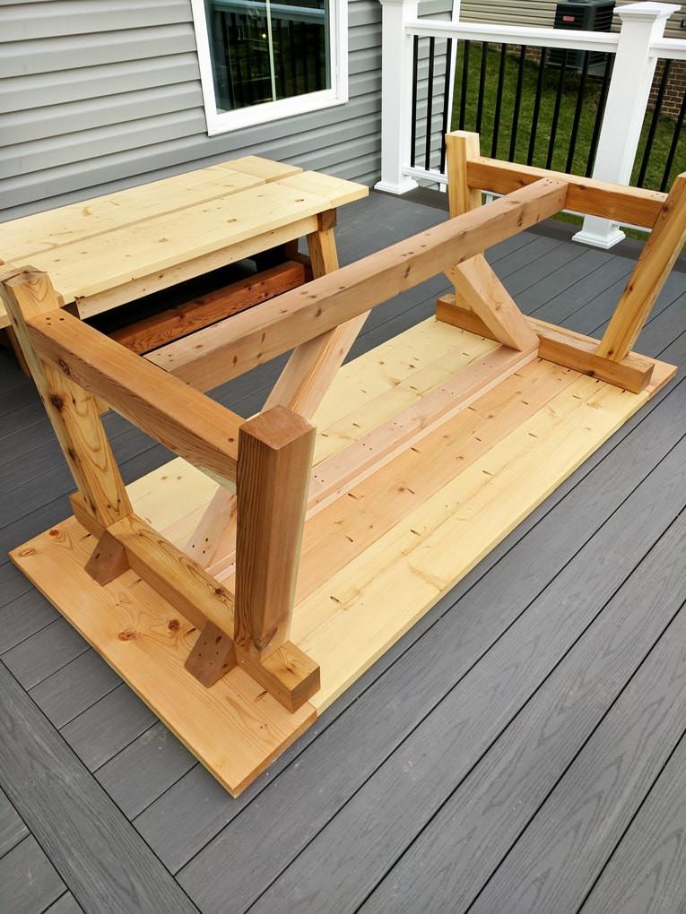 DIY Outdoor Wooden Table  DIY Farmhouse table build truss beam table outdoor