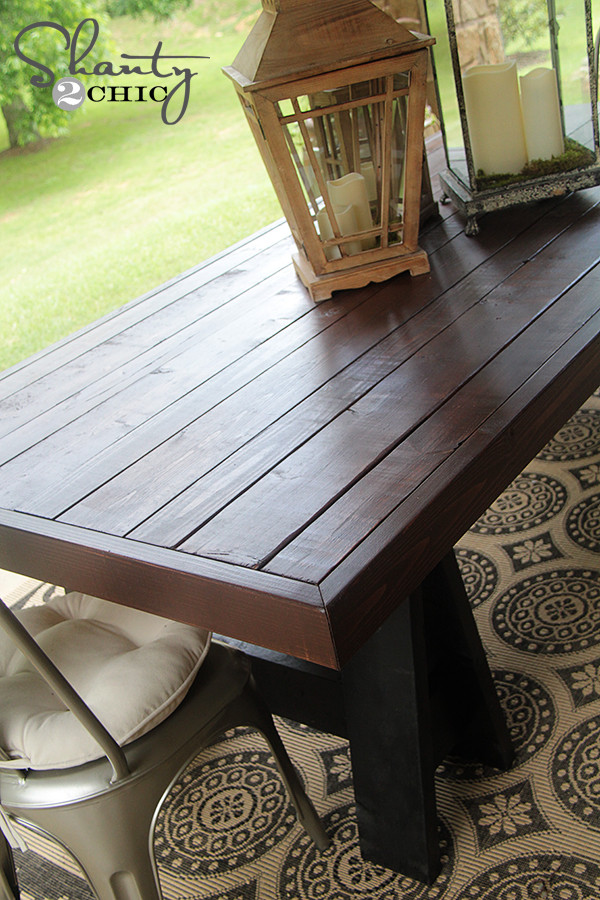 DIY Outdoor Wooden Table  DIY Table Pottery Barn Inspired Shanty 2 Chic