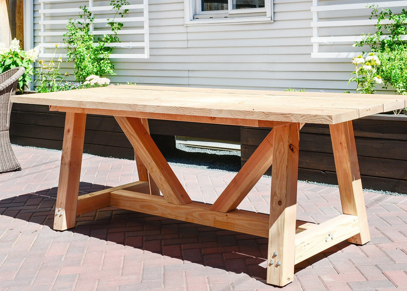 DIY Outdoor Wooden Table  Our DIY Patio Table Part I Yellow Brick Home
