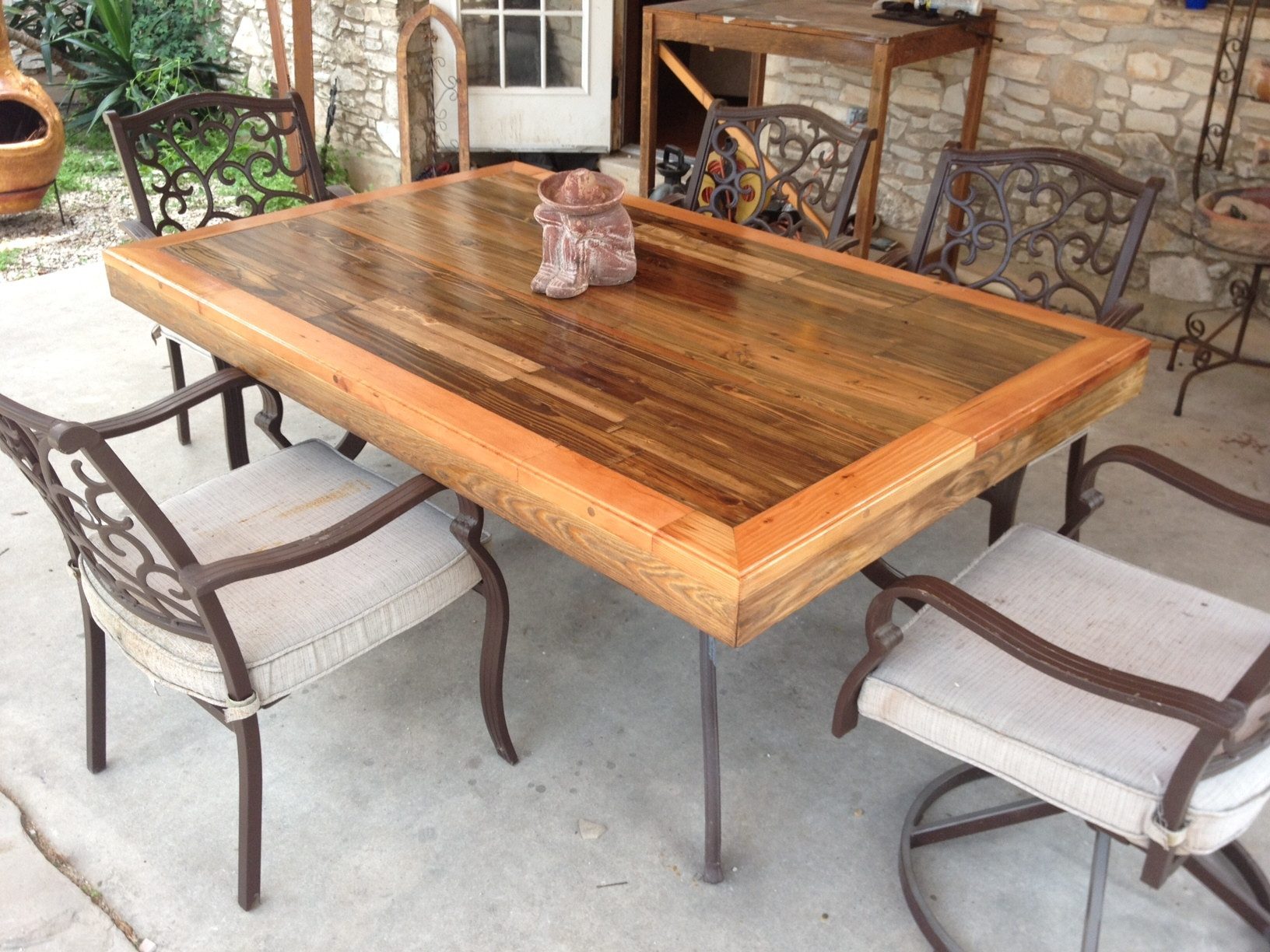 DIY Outdoor Wooden Table  Patio Tabletop Made From Reclaimed Deck Wood