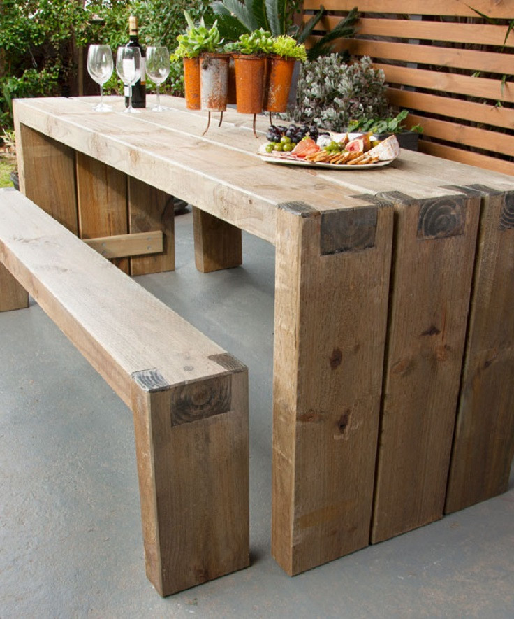 DIY Outdoor Wooden Table  10 Wooden DIY Projects to Embellish Your Backyard for