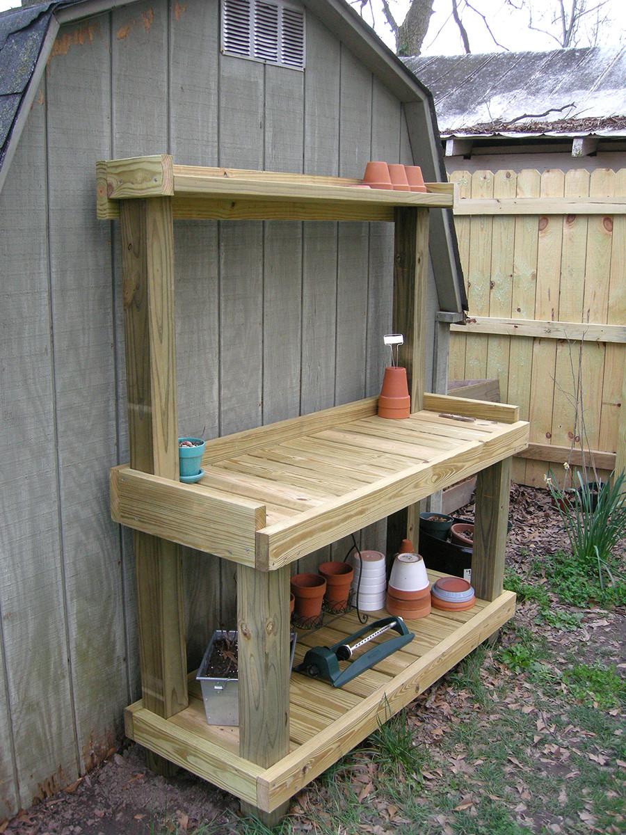 DIY Outdoor Workbench  DIY Potting Bench Westview Bungalow