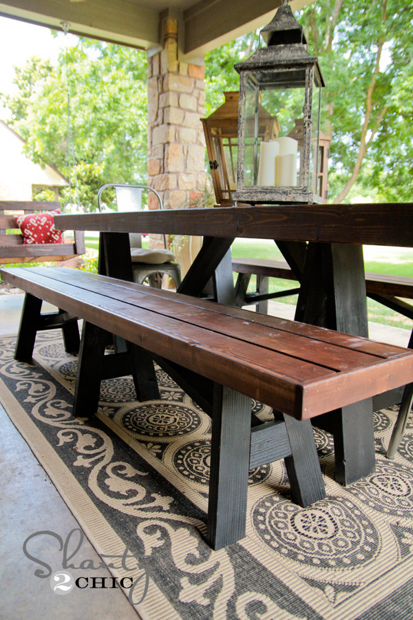 DIY Outdoor Workbench  DIY Bench for Dining Table Shanty 2 Chic