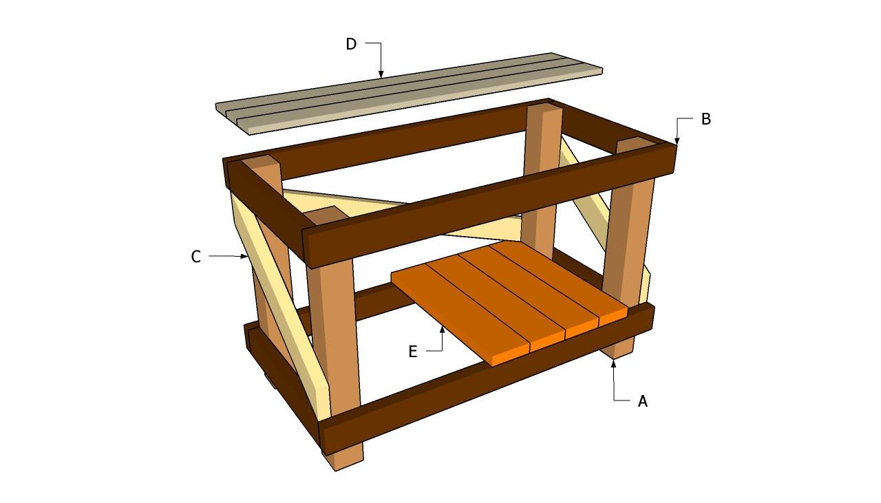 DIY Outdoor Workbench  PDF Plans Diy Workbench Plans Download individual diamond
