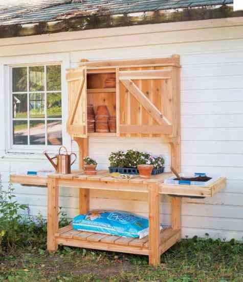 DIY Outdoor Workbench  DIY Potting Bench Plans DIY MOTHER EARTH NEWS