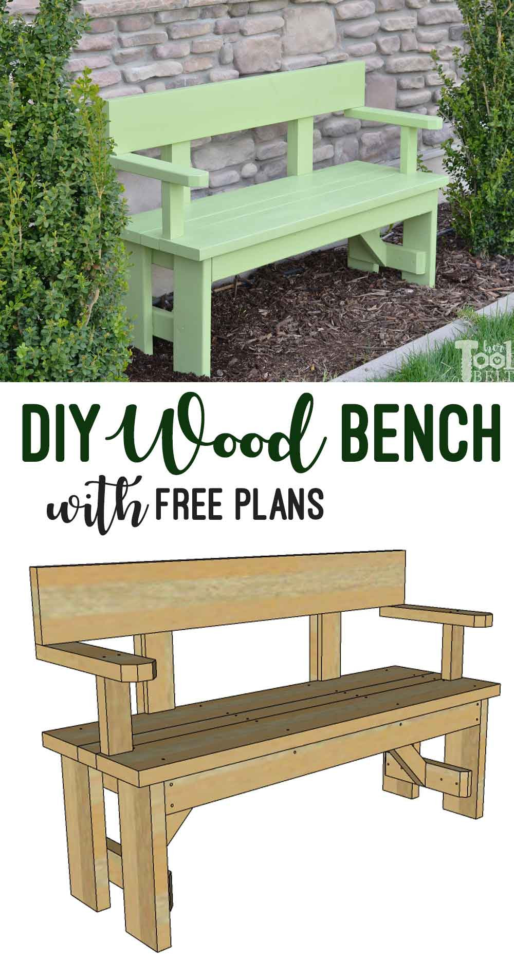 DIY Outdoor Workbench  DIY Wood Bench with Back Plans Her Tool Belt