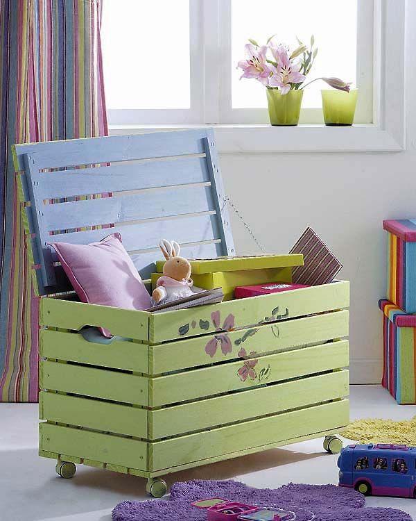 DIY Pallet Toy Box  40 Creative DIY Pallet Furniture Project Ideas & Tutorials